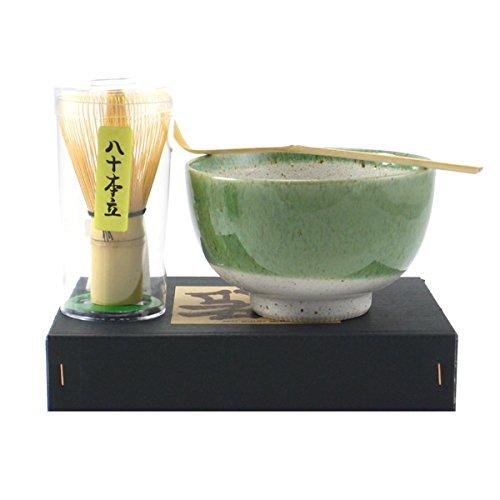 YokohamaUSA Matcha Bowl Set Green Oribe Spoon 80 Whisk Tea Ceremony