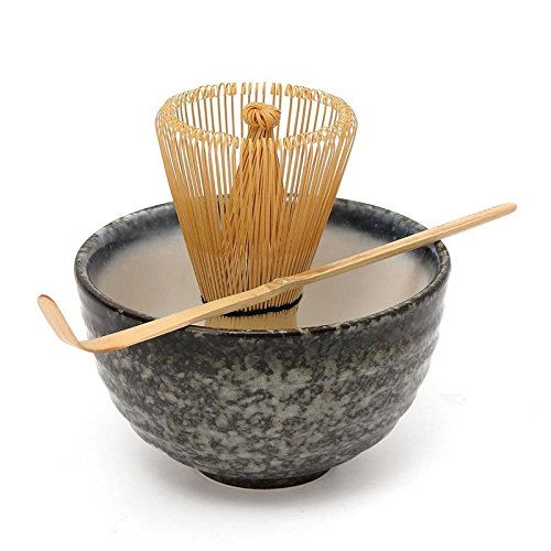 Katoot Hot Sale 3pcs sets Bamboo Matcha Tea Ceremony Gift Set with Ceramic Tea Bowl Scoop Powder Whisk Chasen Japanese Teaware Present
