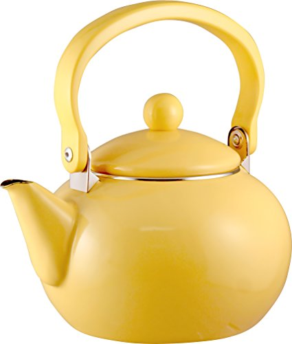 Calypso Basics 2-Quart Enamel-on-Steel Tea Kettle Lemon Yellow