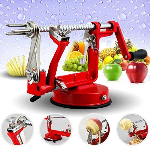 3in1 Apple Slinky Machine Peeler Corer Potato Fruit Cutter Slicer Red color