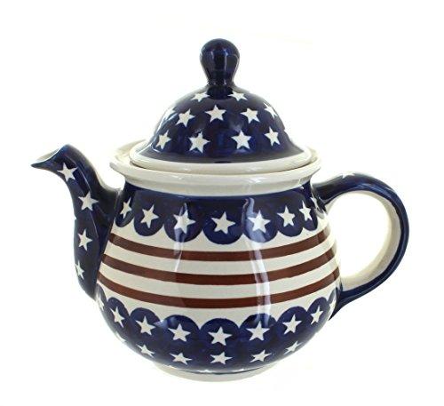 Polish Pottery Stars Stripes Large Teapot