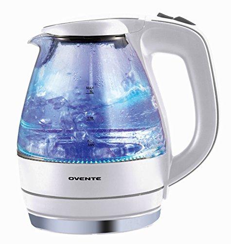 Ovente 15 Liter BPA Free Glass Cordless Electric Kettle White KG83W