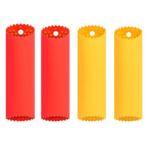 KSPOWWIN 4 Pack Upgrade Version Silicone Garlic Peeler Garlic Roller Peeling Tube Easy Useful Kitchen ToolsRed Yellow
