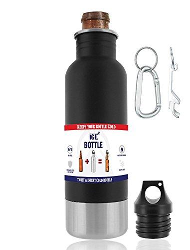 The Original Beer Bottle Cooler - Cold Beer Keeper - Stainless Steel Bottle Armor Insulator - Bottled Beer Armour Holder - Fits 12oz Bottles - Includes Bottle Opener Keychain Carabiner Matte Black