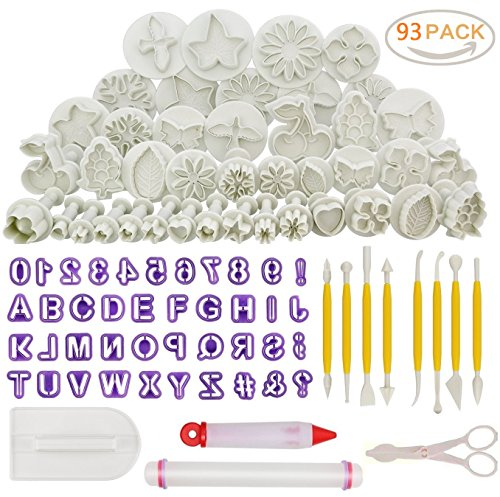 93pcs Cake Decorating Fondant Tool SetSugarcraft Cookie Mould Icing Plunger Modelling Cutter ToolAlphabet Letters Rolling Pin Scissors Embosser Mould ToolsFlower Modelling Tools