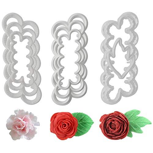Fyuan Molding Roses Carnations Peony 3D Petal Cake Cutter Flower Fondant Icing Tool Decorating Mould DIY Baking Accessories 9pcs