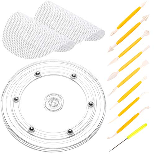 WXJ13 Cookie Turntable Swivel Acrylic Cookie Rotating Stand with 2 Piece Anti-Slip Silicone Mats and 9 Piece Fondant Tools for Cookie Cake Decorating Sugarcraft Modelling Beginner