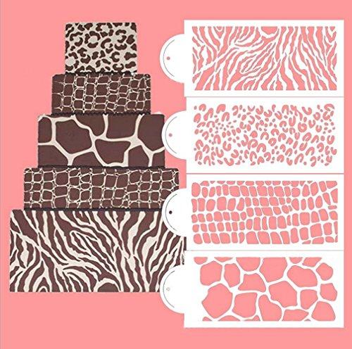 Fondant Impression Mat Mould 4pcsset 6x13inch Animal Fur Pattern Lace Fondant Imprint Mats- Plastic Cake Decorating Supplies for Cupcake Wedding Cake Decoration Tools