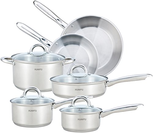 HUANYU 10 Piece Stainless Steel Cookware Set