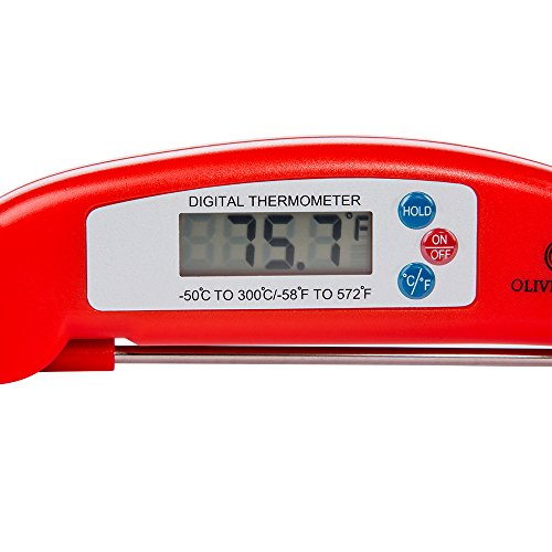 Best Digital Meat Thermometer - Instant Read Technology - Perfect for Food Grill BBQ Liquid - Fast Accurate Readings - Batteries Included - Candy Roasts Fish Sauce More - From Oliver Kline