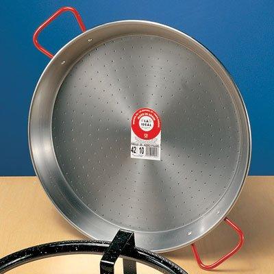 Carbon Steel Paella Pan w Red Handles 15D