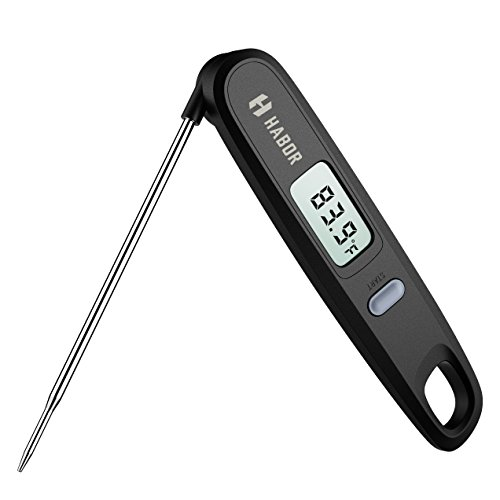 Habor Instant Read Meat Thermometer Digital Cooking Thermometer with Magnetic Attachment Hanging Hole and 48 Inch Foldable Long Probe for Grill Candy BBQ Coffee Tea Milk Burger