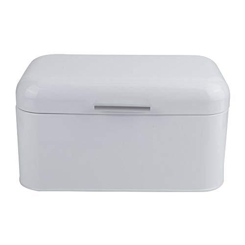 Zerone Bread Storage Box Large Capacity White Metal Bread Box Holder Container Kitchen Storage Organizer