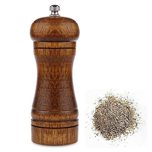 Powstro 5 Inch Pepper Mill Oak Wood Salt and Pepper Grinder Ceramic Adjustable Coarseness Grinder