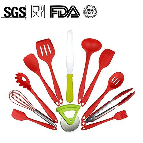 12 PCS Silicone Utensils Heat Resistant Silicone Kitchen Utensils Non Stick Non Scratch Cooking Utensils Kitchen Good Helper
