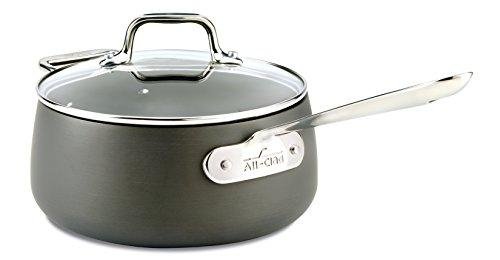 All-Clad E7852464 HA1 Hard Anodized Nonstick Dishwasher Safe PFOA Free Sauce Pan Cookware 35-Quart Black