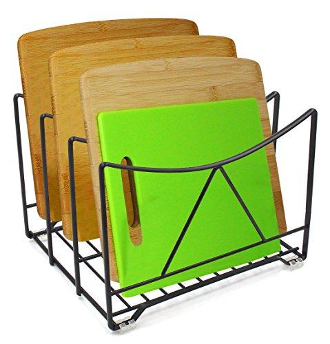 IZLIF Kitchen Pantry Organizer Cabinet Pot Lid Pan Rack 725 inch High 3 Slot Black