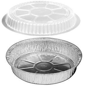 HandiFoil 7 TakeOut To-Go Round Disposable Aluminum Foil Pans w Plastic Dome Lids 25 Count 7 18x 7 18 x 1 12 deep