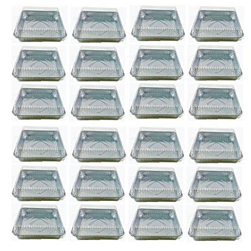 Set of 24 Durable Foil Disposable Aluminum 7 38 x 7 38 Square Cake Pans With Lids 24