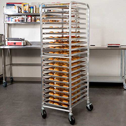 Bun Pan Rack End Load Commercial Dough 20 Pans Bakers Speed Rack Sheet Pizza Aluminum Side for Storing Trays of Food at Hospitals Cafeterias Or Health Care Facilities