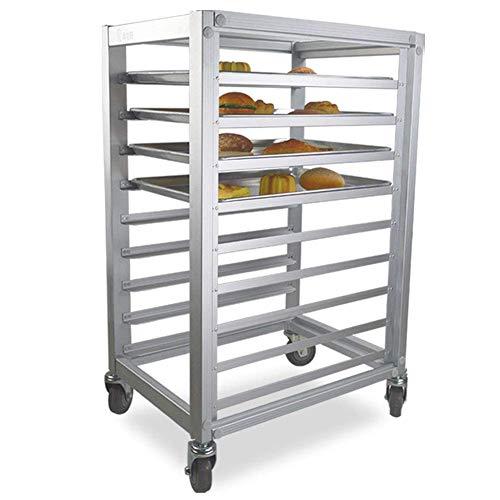 Commercial Bun Pan Rack with Wheel Mobile Kitchen Sheet Pan Rack Aluminum Pizza Pan Racks 9 Sheet Aluminum