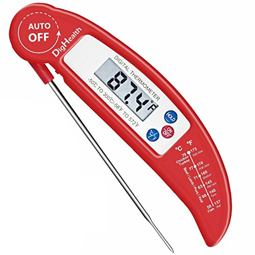 Digital Cooking Food Thermometer by DigHealthTM for BarbecueBBQKitchen Meat BakingCandy Instant Read Accurate with High-Performing Probe and Internal Temperature Chart