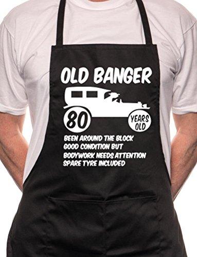 Print4u 80th Birthday Old Banger BBQ Cooking Funny Novelty Apron Black