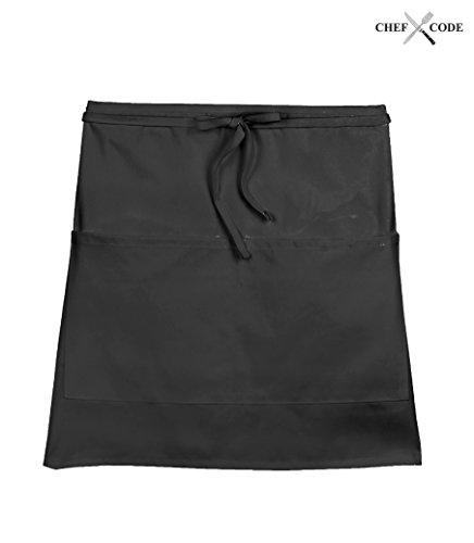 Chef Code Waist Server  Waitress Restaurant Aprons with 2 Pockets 1-100 Packs 2 Black