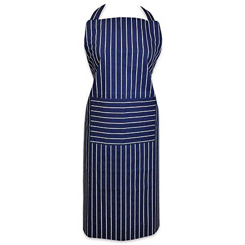 DII 100 Cotton Professional Stripe Bib Chef Apron Unisex Restaurant Kitchen Apron Adjustable Neck Strap Waist Ties Machine Washable Front Pocket Perfect for Cooking Baking BBQ - Blue