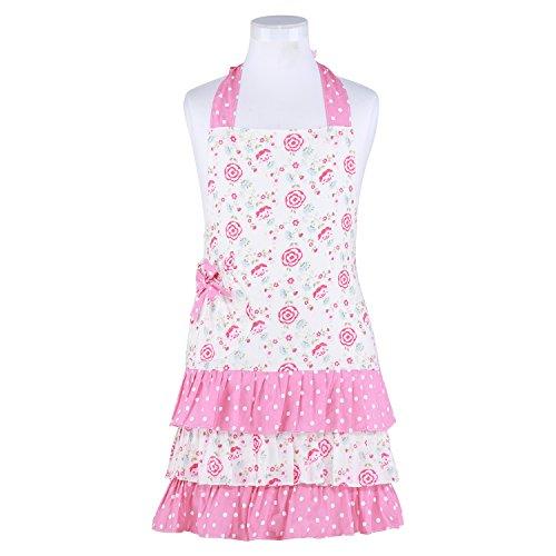 Neoviva Cotton Child Apron with Pocket Style Little Doris Floral Prism Pink Polka Dot
