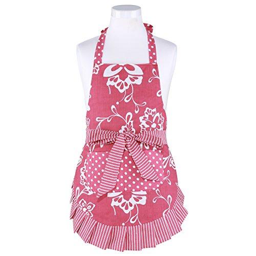 Neoviva Cotton Floral Kitchen Apron for Kid Girls Style Kathy Floral Aurora Red