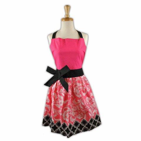Riviera Floral Apron Color PinkBlack