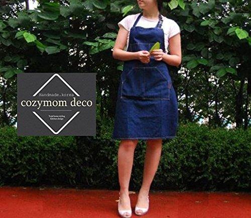 Cozymom Art Apron Chef Works Handmade Apron Japanese Style Cross Back Shape Denim Jean Apron-blue Color