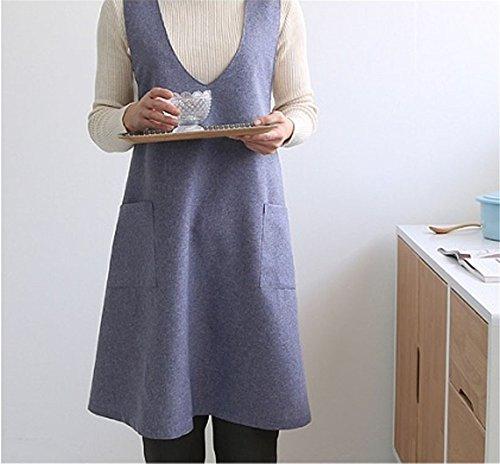 Katoot Chef Works Handmade Apron Japanese Style X Button Shape Denim Smock Natural Linen Apron-blue Color Blue