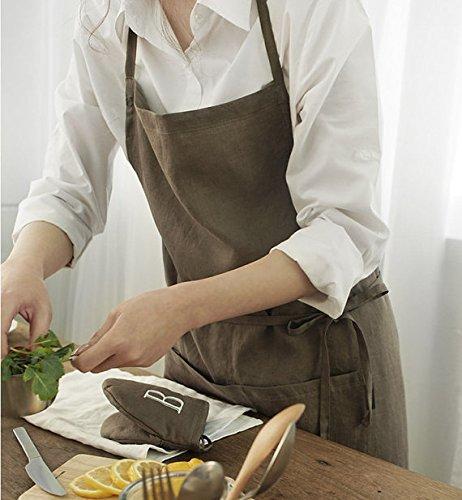 Linen 100 Premium Gift Chef Works Handmade Apron Japanese Style Cross Back Shape Cotton Apron-brown Color