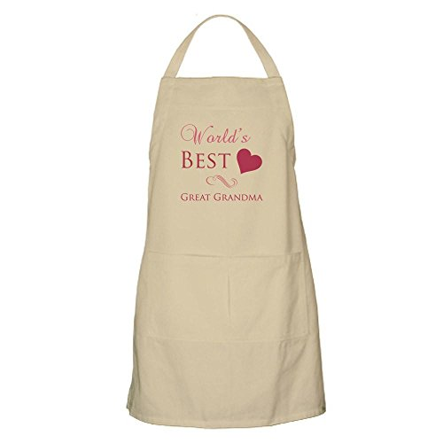 CafePress - Worlds Best Great Grandma Heart Apron - Kitchen Apron with Pockets Grilling Apron Baking Apron