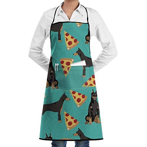 Klasl5 Doberman Pinscher Turquoise Pizza Restaurant Aprons Chef Cooking Bib Apron for Kitchen Waitress Men Women BBQ Painting Stylist Artist