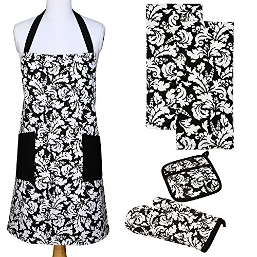 Yourtablecloth Kitchen Gift Set-1 Kitchen Apron An Oven Mitt A Pot Holder-2 Kitchen Dish Towels or Tea Towels-Ideal Cooking Gifts or Gift Ideas for Chefs-Suitable for Men Women-Black
