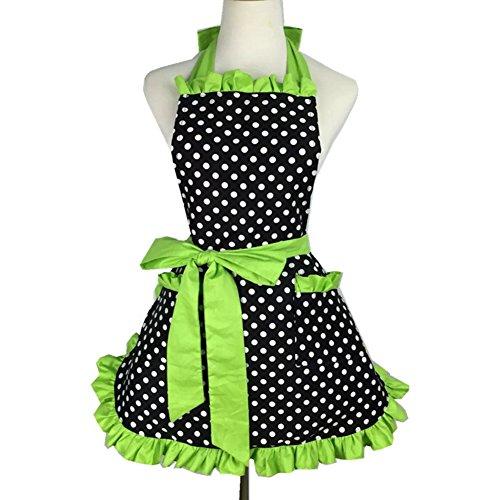 T-JULY Retro Kitchen Aprons Woman Girl Polka Dot Cooking Salon Pinafore Vintage Apron Dress