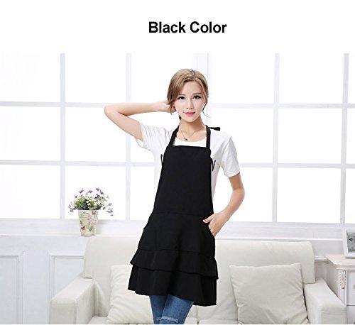 EUMAT Adjustable Professional Bib Apron with Pockets Korean Version Fashion Apron Lotus Leaf Salon Staff Apron Beauty Apron Uniforms for Women AP002
