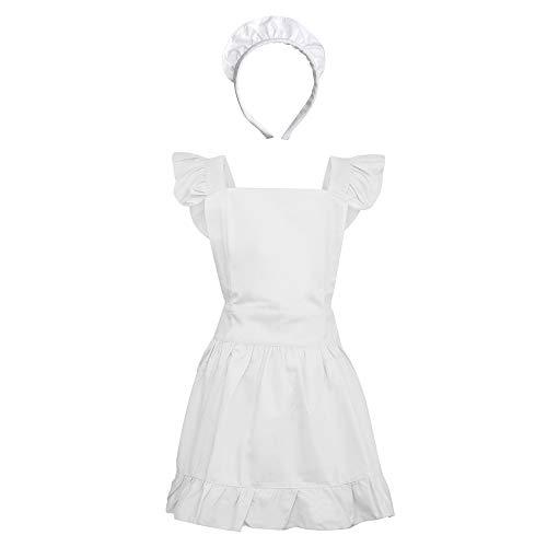 Aspire Maid Apron with Headband for Women Retro Cotton Frilly Kitchen Apron Vintage Halloween Costume