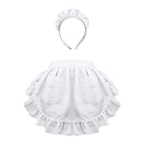 Aspire Waist Apron with Headband for Lady Medium Size Lace Cotton Kitchen Half Apron Maid Costume