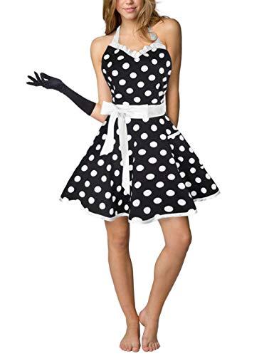 Eternity J Cute Cotton Polka Dot Kitchen Aprons Sexy Vintage Apron Dress Retro Baking Cooking Salon Pinafore Maid Costume for Women Girls