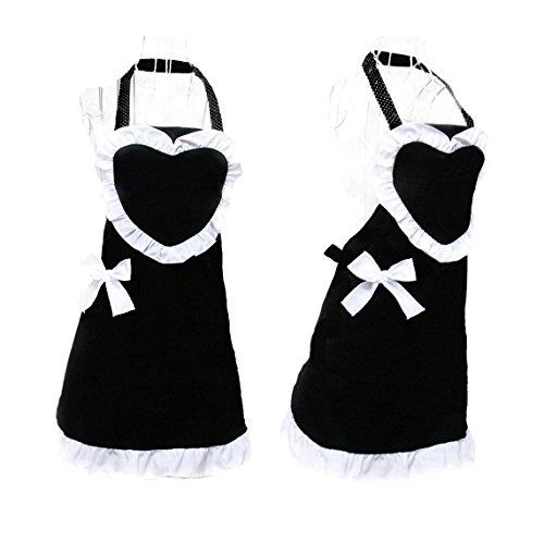 Hyzrz Royal Cooking Aprons for Women Vintage Girls Maid Black Apron Heart Shape Patterns