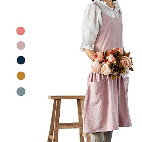 NOOS Soft Cotton Linen Apron Women Pinafore Dress Halter Cross Bandage Cooking Aprons Fashion Coffee Shop Waist Kitchen Aprons Women Apron Maid Apron Gardening Apron