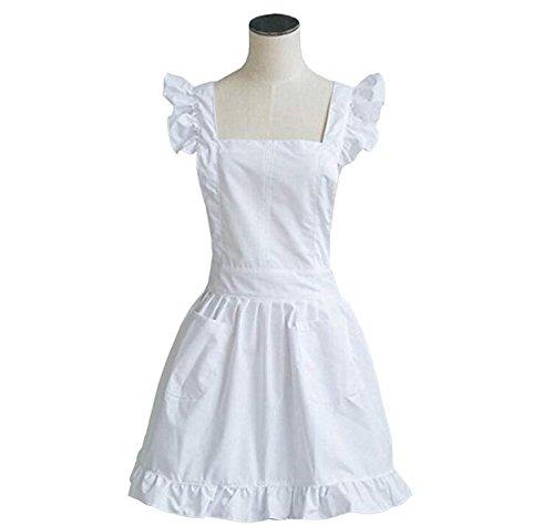 Petite White Victorian Lace Bib Apron Pinafore Maid Cinderella Alice Cake Kitchen Cook Apron