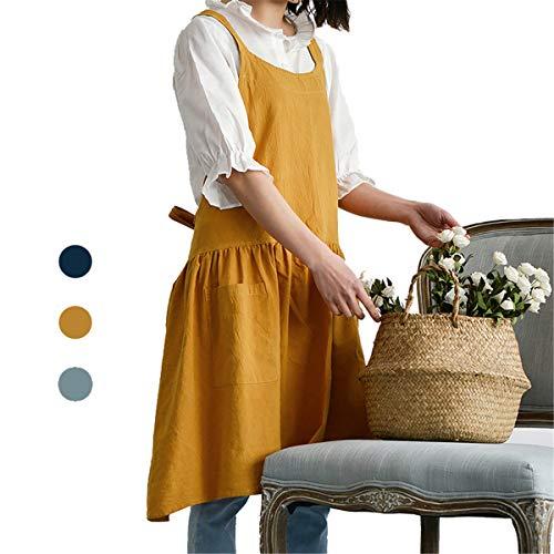 ZI TENG Soft Cotton Nordic Apron for Women Fashion Adjustable Bib Chef Apron Fashion Coffee Shop Waist Kitchen Aprons Women Apron for CookingMaid Apron Baking Gardening 32X30 Inch