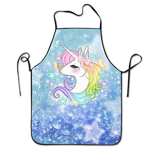 Cute Unicorns Adjustable Bib Apron Adult Home Kitchen Apron Chef Apron For Men And Women