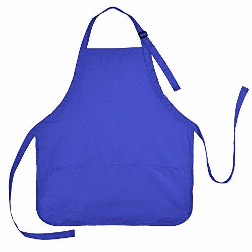 DALIX Apron Commercial Restaurant Home Bib Spun Poly Cotton Kitchen Aprons 3 Pockets in Royal Blue