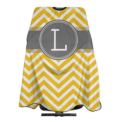 Dnwha Monogram Letter L with Yellow Gray Chevrons Professional Hair Salon Apron Polyester Hair Shawl 55 X 66 Suitable for Barber Shop Or Home